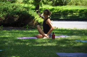 Yoga in the park is hot. Flanagan Park, Marietta Market.